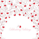 Red rowanberry and tree branches round vector frame Stock Photography