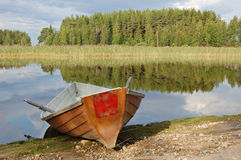 Red rowing boat Royalty Free Stock Images