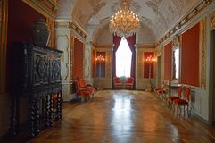 Red Royal Reception Room -Interior of Christainsborg Palace Copenhagen. Christiansborg Palace Danish: Christiansborg Slot; pronounced is a palace and government stock photo