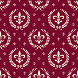 Red royal seamless textile pattern. Royal neoclassical seamless background with laurel wreath and fleur de lis on red Stock Images