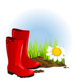 Red rubber boot Stock Photo