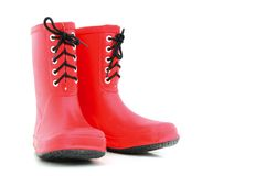Red rubber boots Stock Photography