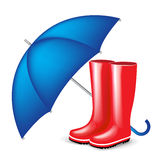Red rubber boots with blue umbrella Stock Images