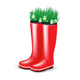 Red rubber boots with grass and flowers Stock Photo