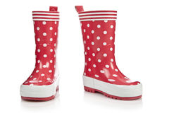 Red rubber boots. For kids isolated on white background Royalty Free Stock Photo