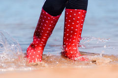 Red rubber boots Stock Photo