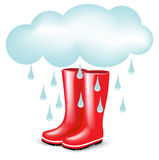 Red rubber boots with rainy cloud Stock Image