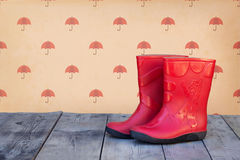 Red rubber boots Stock Photos