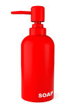 Red rubber bottle for liquid soap with dispenser pump Stock Image