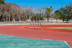 Red Rubber Competition Sport Track in Stadium Area Royalty Free Stock Images