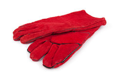 Red Rubber Glove with white background Stock Photo
