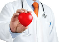 Red rubber heart in doctors hand Stock Photo
