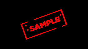 Red rubber ink stamp Sample signed zoom in and zoom out with alpha channel transparency backgrounds stock footage