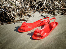 Red rubber sandals Royalty Free Stock Photos