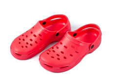 Red rubber shoes Royalty Free Stock Photos