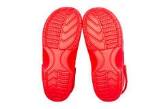 Red rubber shoes Royalty Free Stock Images