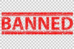 Red Rubber Stamp, Banned, at Transparent Effect Background Stock Photos