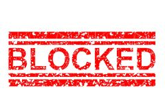 Red Rubber Stamp, Blocked, Isolated on White Royalty Free Stock Photos