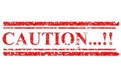 Red Rubber Stamp, Caution, Isolated on White Stock Photo
