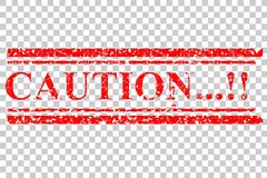 Red Rubber Stamp, Caution, at Transparent Effect Background Stock Images