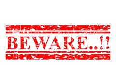 Red Rubber Stamp Effect, Beware Isolated on White Stock Image