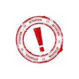 Red rubber stamp with the exclamation mark Royalty Free Stock Images
