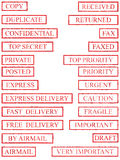 Red Rubber Stamp Set 02 Royalty Free Stock Image