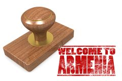 Red rubber stamp with welcome to Armenia Royalty Free Stock Image