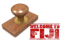 Red rubber stamp with welcome to Fiji. 3D rendering Royalty Free Stock Photos