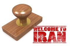 Red rubber stamp with welcome to Iran Stock Images