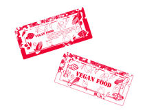 Red rubber stamps with vegetables Royalty Free Stock Photos