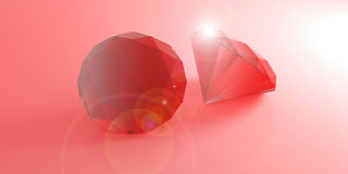 Red rubies on red background. 3d illustration. Red gemstones isolated on red background. 3d illustration royalty free illustration