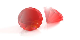 Red rubies on white background. 3d illustration. Red gemstones isolated on white background. 3d illustration royalty free illustration