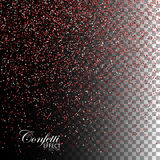 Red Ruby Confetti Glitters. Vector Festive Illustration of Falling Shiny Particles. Sparkling Texture Isolated on Transparent Checkered Background. Holiday Royalty Free Stock Photography