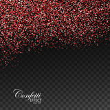 Red Ruby Confetti Glitters. Vector Festive Illustration of Falling Shiny Particles. Sparkling Texture Isolated on Transparent Checkered Background. Holiday Royalty Free Stock Photo