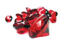 Red ruby gem stones crystals Stock Image