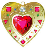 Red ruby heart pendant. Vector illustration of red ruby heart pendant, isolated on white Royalty Free Stock Images