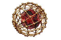 Red  ruby inwardly  of the lattice. Red round ruby inwardly gold of the lattice Royalty Free Stock Images