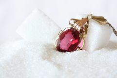 Red Ruby Jewel in Crystal Sugar Royalty Free Stock Photo