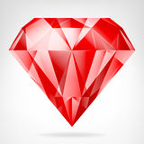 Red ruby side view vector. Isolated illustration Stock Photo