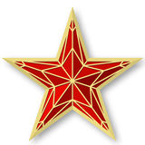 Red ruby star as on the Kremlin.Vector illustration on white background.Victory Day. Stock Image