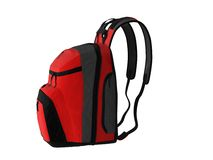 Red rucksack. Red cloth rucksack isolated on white background Stock Photography