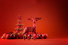 Red rudolf background Stock Photos
