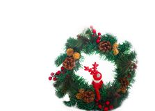 Red Rudolph dear with big antlers. Christmas wreath. Red Rudolph dear with big antlers. Christmas and holiday concept. Isolated object on a white background stock image