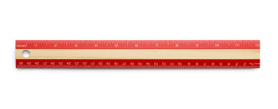 Red Ruler. Red Wooden Ruler Isolated on White Background stock photo