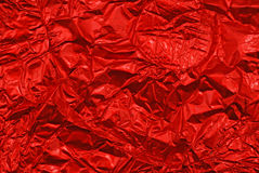 Red rumpled foil Royalty Free Stock Image