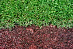 Red running track and green grass Stock Photo