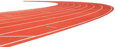 Red running track isolated on white Stock Photos