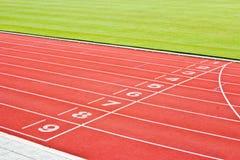Red running tracks. stock photo
