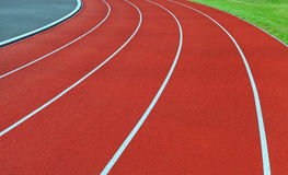 Red running tracks. royalty free stock images